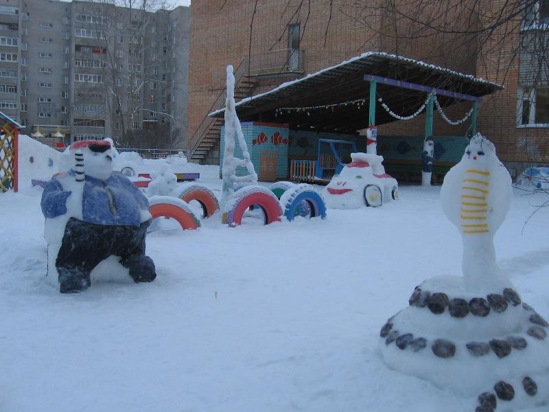 Детская площадка зимой в детском саду своими руками фото